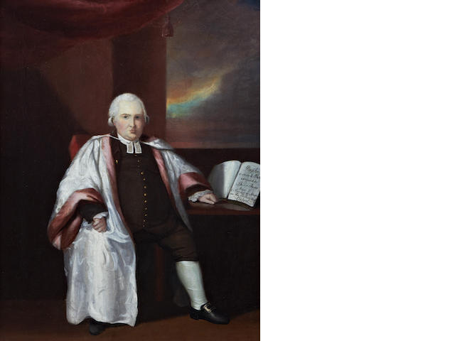English School, late 18th Century A portrait of the composer Philip Hayes, wearing academic gown, brown jacket and trousers, and short grey wig, the score of 'Prophecy a sacred oratorio' on the table at his side