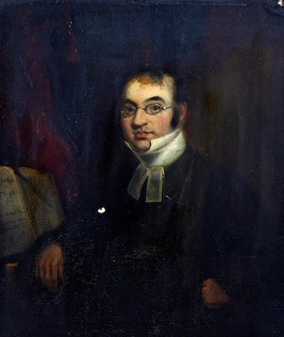 British School, early 19th century A portrait of a musician (and/or a clergyman), half length before a score or songbook