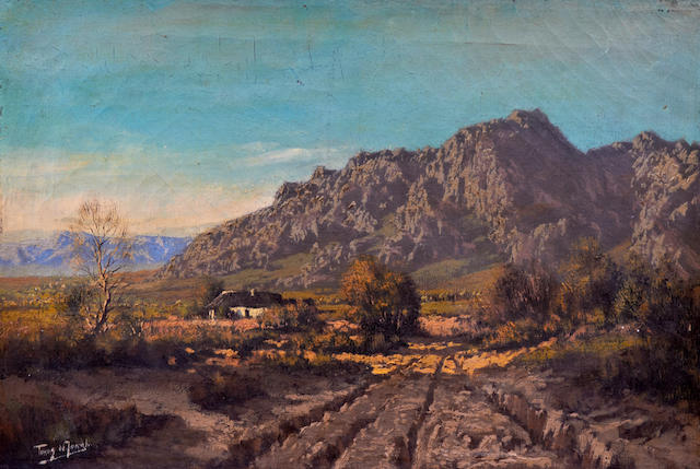 Marthinus (Tinus) Johannes de Jongh (South African, 1885-1942) South African landscape with homestead