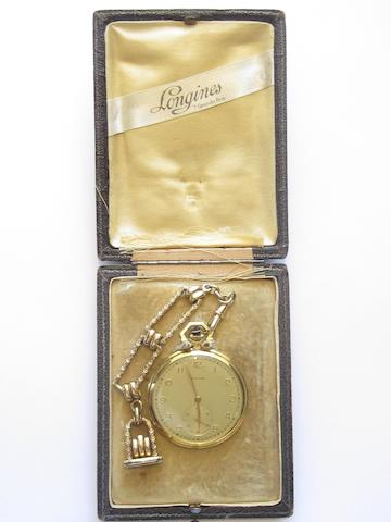 An open faced pocket watch, by Longines