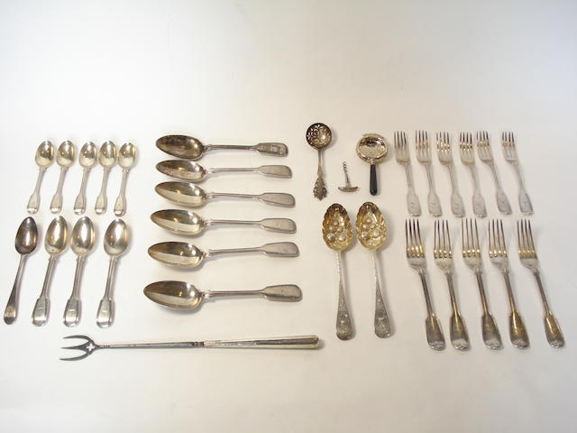 A Victorian silver composite part canteen various dates and makers