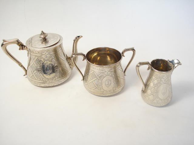 A Victorian three piece silver tea service by Edward & John Barnard, London 1861