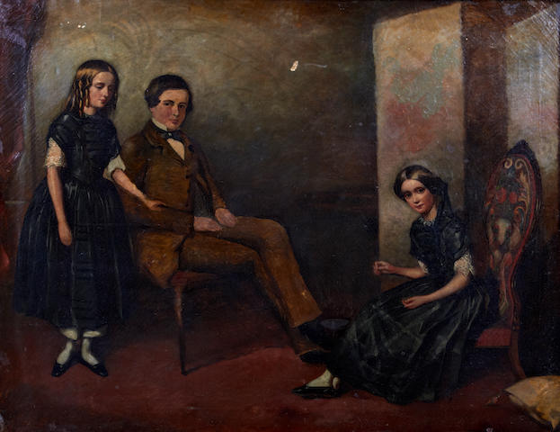 Follower of John Bridges (British, active 1818-1854) Three children in an interior