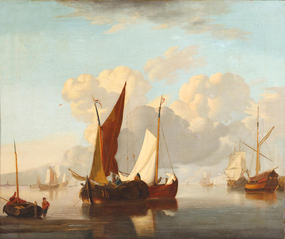 Dutch School, circa 1800 Fishing vessels on a calm sea
