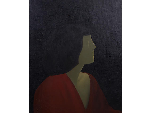 Jacob Kramer (British, 1892-1962) Portrait of a woman in profile, head and shoulders wearing a red dress