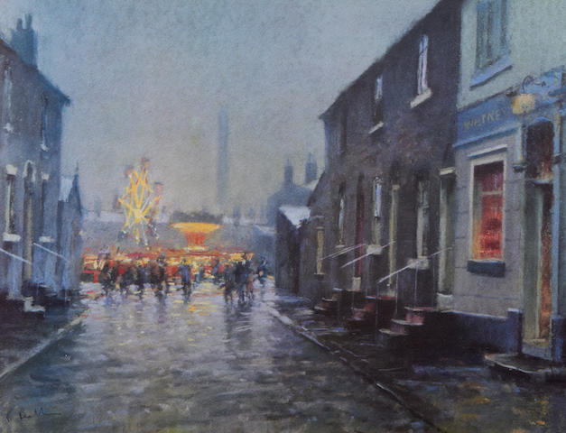 Bob Richardson (British, born 1938) Street scene and fairground
