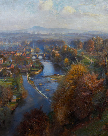 Herbert F. Royle (British, 1870-1958) Ludlow and the River Severn