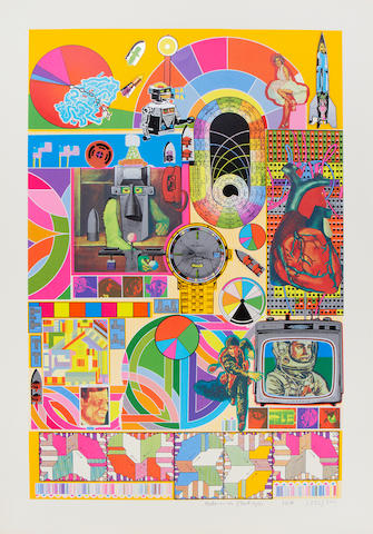 Sir Eduardo Paolozzi (British, 1924-2005) B.A.S.H. (Blue-grey, Orange and Dark Pink) Three screenprints in colours with collage, each signed, dated, and numbered variously from the editions of 3000 in pencil, published by Dorothea Leonhart, Munich, with their blindstamp, each with full margins, 740 x 485mm (29 1/8 x 19 1/8in)(I)(unframed)(3)