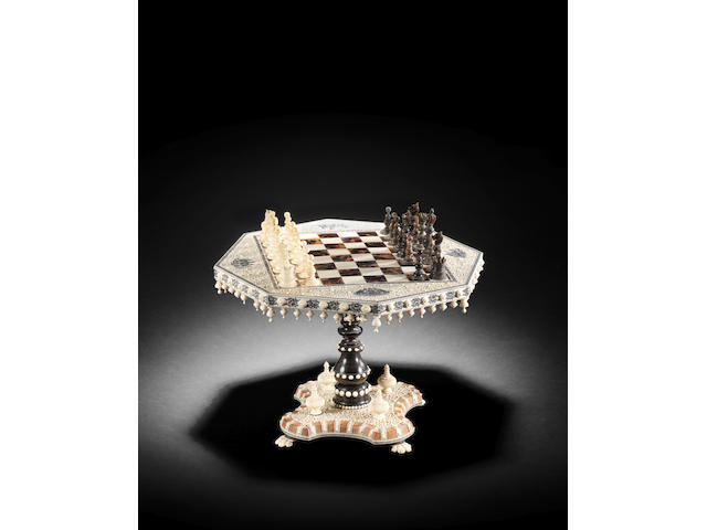 A Vizagapatam ivory, ebony and tortoiseshell overlaid sandalwood Chess Board Table and Gaming Pieces, a gift from Muhammad Ali Jinnah South India, circa 1910(34)