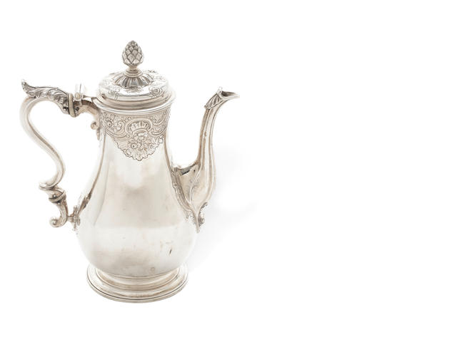 A George II silver coffee pot by Frederick Knopfell, London 1754