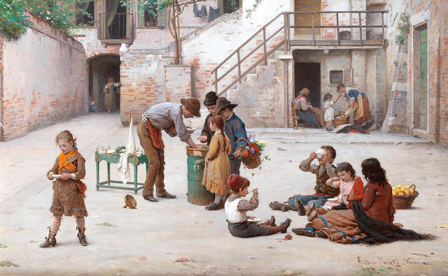 Antonio Ermoao Paoletti (Italian, 1834-1912) The ice cream vendors