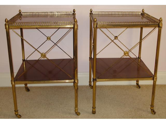 A pair of 20th Century rosewood banded and gilt brass mounted two tier etergeres, with galleried tops, and 'X' grills on three sides, 37 x 37cm.
