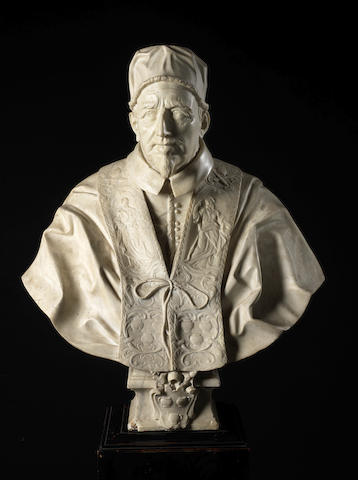 A carved white marble portrait bust of Pope Innocent XII, after Domenico Guidi