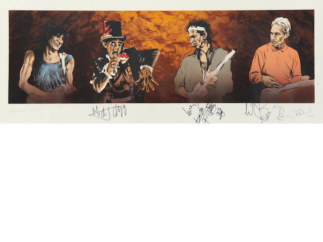 After Ronnie Wood (British, 1947-): 'Voodoo Four (Series 11)', a limited edition autographed screenprint of the Rolling Stones, 1997,