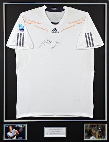 Andy Murrays hand signed U.S. Open final match worn shirt