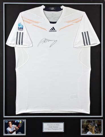 Andy Murrays hand signed U.S. Open final match worn shirt