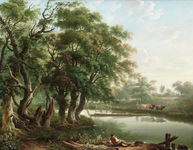 Charles Towne (British, 1763-1840) A wooded river landscape with an angler in the foreground