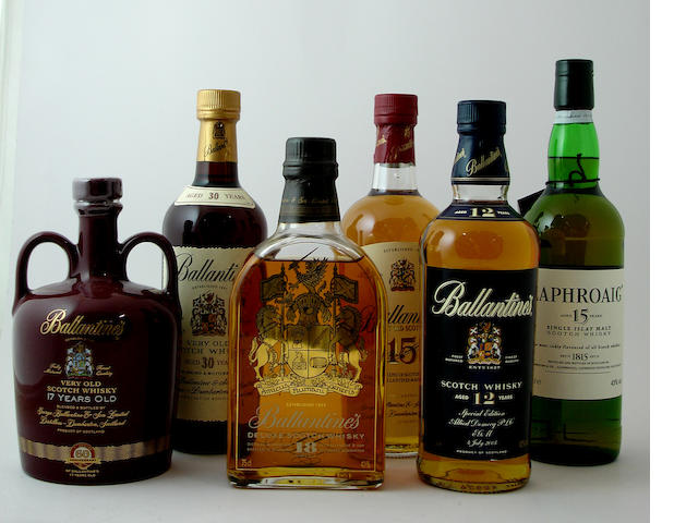 Ballantine's Signatory Edition-17 year old<BR /> Ballantine's-30 year old<BR /> Ballantine's-18 year old<BR /> Ballantine's-15 year old<BR /> Ballantine's-12 year old<BR /> Laphroaig-15 year old