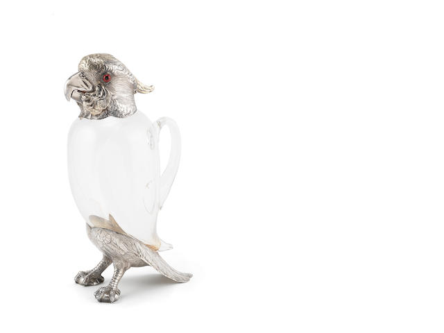 "A Victorian silver and parcel gilt ""cockatoo"" claret jug by Alexander Crichton and overstruck with the mark of William Leuchars, London 1881, engraved Leuchars & Son, London & Paris"