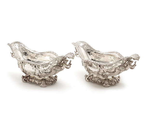 An impressive pair of late Victorian silver two-handled fruit dishes by John Bodman Carrington, London 1893  (2)