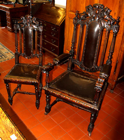 A set of eight carved oak dining chairs,
