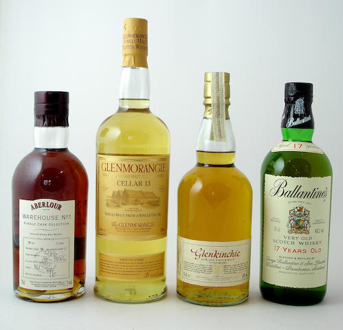 Aberlour-14 year old-1993<BR /> Glenmorangie Cellar 13<BR /> Glenkinchie-10 year old<BR /> Ballantine's-17 year old