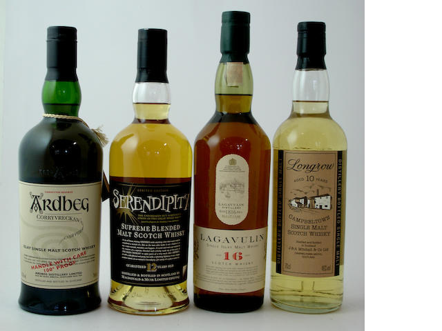 Ardbeg Corryvreckan<BR /> Serendipity-12 year old<BR /> Lagavulin-16 year old<BR /> Longrow-10 year old