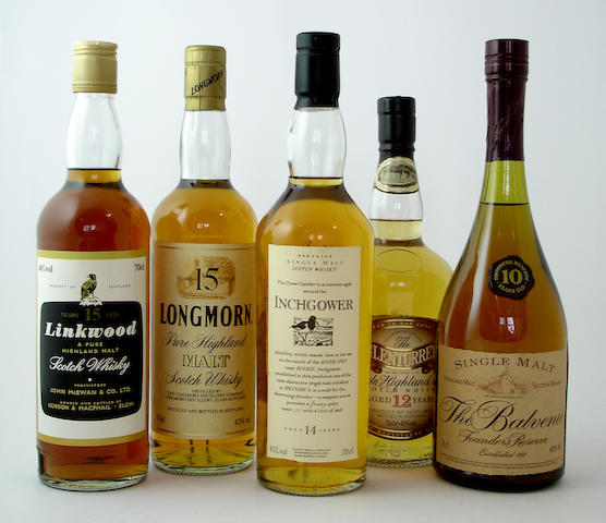Linkwood-15 year old<BR /> Longmorn-15 year old<BR /> Inchgower-14 year old<BR /> The Glenturret-12 year old<BR /> The Balvenie Founder's Reserve-10 year old