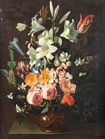 Hieronymus Galle the Elder (Antwerp 1625-1679) Roses, lilies, tulips and other flowers