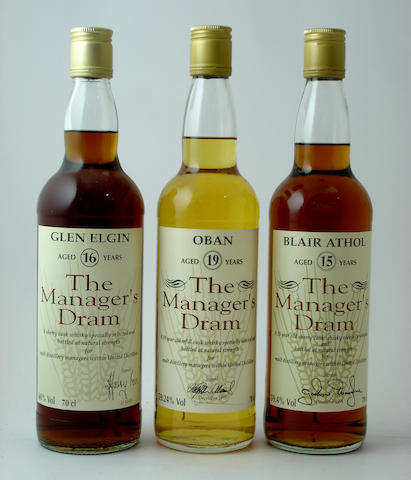 Glen Elgin-16 year old<BR /> Oban-19 year old<BR /> Blair Athol-15 year old