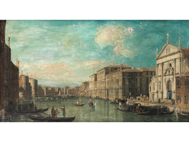 English Follower of Bernardo Bellotto, early 19th Century The Grand Canal, Venice, with the Church of San Stae in the foreground