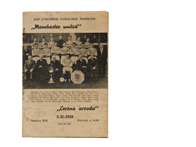 1958 Red Star Belgrade v Manchester United programme