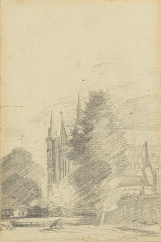 John Constable, R.A. (East Bergholt 1776-1837 London) Salisbury Cathedral: The West End unframed