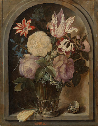 Circle of Ambrosius Bosschaert the Elder (Courtrai 1573-1621 Utrecht) Roses, a tulip, hyacinths and