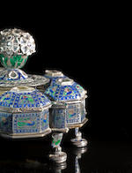 A gem-set enamelled silver-gilt Spice Box Rajasthan, circa 1850