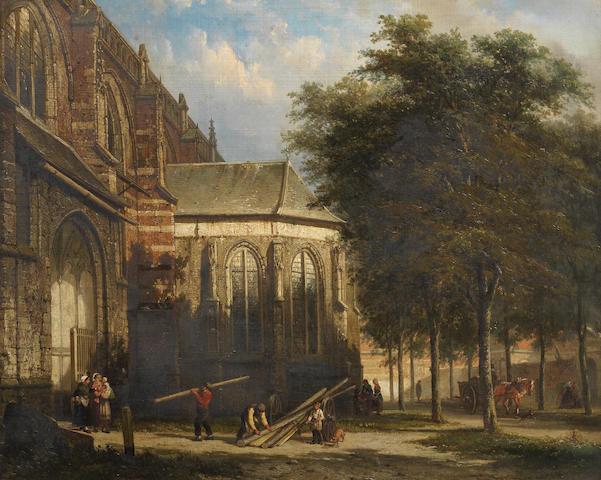 Cornelis Springer (Dutch, 1817-1891) De ingang van de Grote Kerk te Zaltbommel