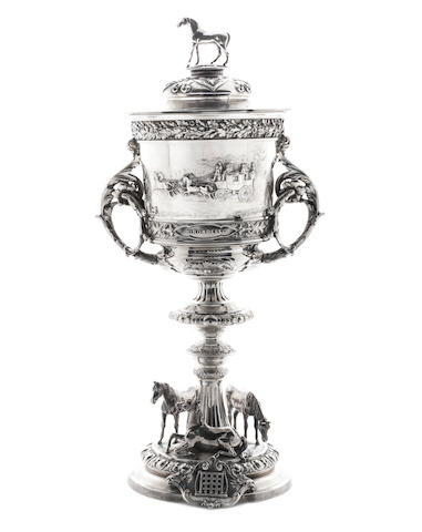 Of coaching interest:- A Victorian silver two-handled cup and cover by Messrs Barnard, London 1875