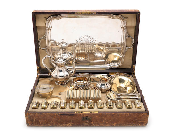 An extensive cased 19th century composite Russian silver and silver-gilt coffee and vodka compendium various dates and makers  (Qty)