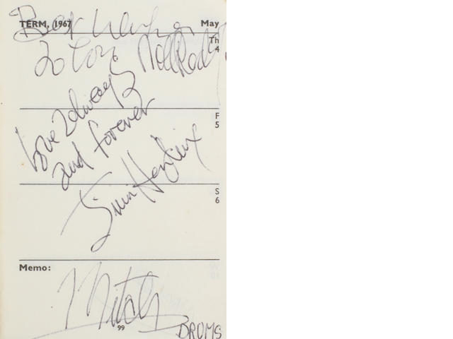 The Jimi Hendrix Experience/Cream/Yardbirds: an exceptional University Of Exeter diary, 1966-67, with multiple signatures of the Experience and others,