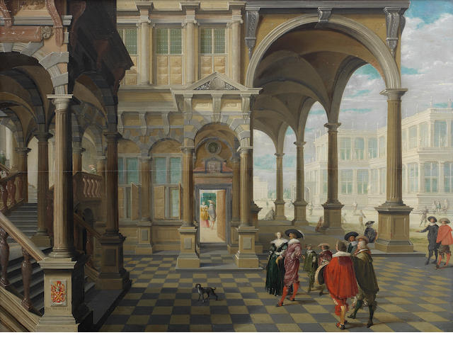 Dirck van Delen (Heusden 1605-1671 Arnemuyden) A noble family and its entourage in a palace courtyard, a group of men playing a ball game beyond