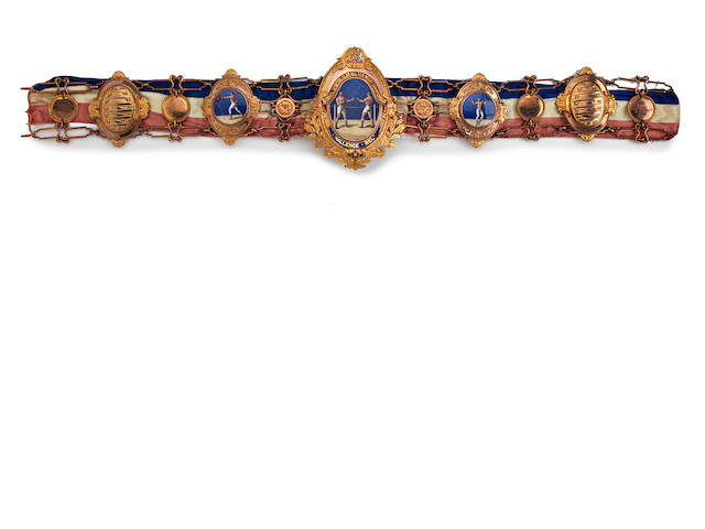 The Lonsdale belt awarded to Johnnie Basham in 1914, 1915 and 1916
