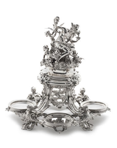 A German silver centrepiece in the manner of Gabriel Hermeling (1833-1904), incuse 800 standard mark