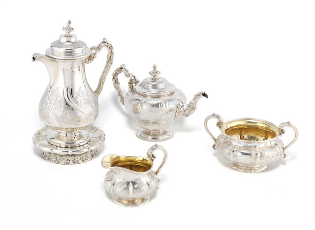 A George IV and William IV silver five piece tea service by Paul Storr, London 1829 - 31, some  pieces incuse stamped Storr & Mortimer  (6)