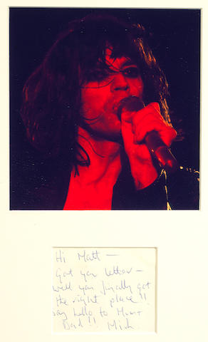 Mick Jagger: a handwritten note,