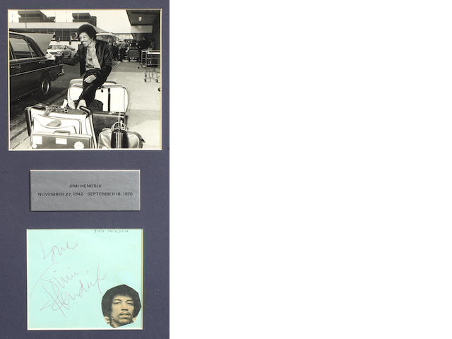 Jimi Hendrix: an autograph on an album page, 1960s,
