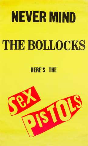 Sex Pistols: a large promo poster for the album 'Never Mind The Bollocks Here's The Sex Pistols', 1977,