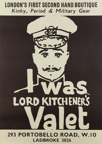 Popular Culture of the 1960s: a poster for the shop 'I Was Lord Kitchener's Valet',