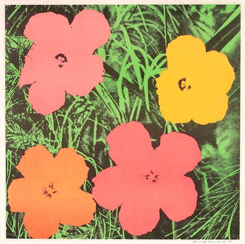 Andy Warhol (American, 1928-1987) Flowers Offset lithograph printed in colours, 1964, on wove, signed and dated in black ink, from the edition of approximately 300, printed by Total Color, New York, published by Leo Castelli, New York, to coincide with an exhibition at Leo Castelli Gallery, November 21-December 17, 1964, with margins, 580 x 580mm (22 7/8 x 22 7/8in)(SH)