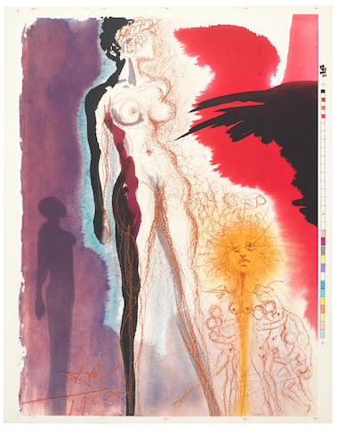 Salvador Dali (Spanish, 1904-1989) Biblia Sacra (Michler & Löpsinger 1600; Field 69.3) The very rare complete set of 105 lithographs printed in colours, 1967, each signed in ink, each on thick wove with wide margins, printer's proofs with registration marks and colour references aside from standard (unsigned) edition, loose in three brown portfolio boxes, each portfolio with text and justification pages each signed by Dali in red crayon, printed and published by Rizzoli, Roma, each sheet 505 x 395mm (20 x 15 1/2in) (105) (unframed)