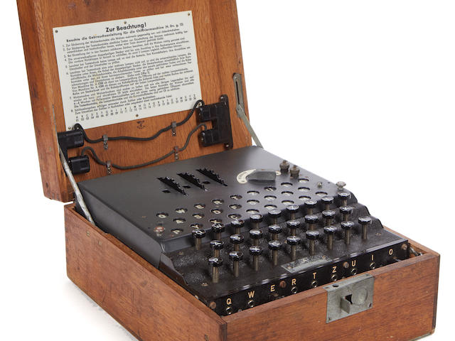A rare three-rotor German Enigma enciphering machine, 1944,